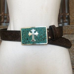 NOCONA Brown WESTERN LEATHER Belt Teal Buckle S